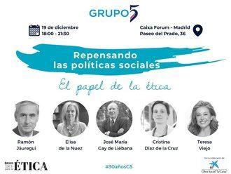 Grupo 5 celebra 30 años con el análisis del futuro de las políticas sociales y el papel de la ética