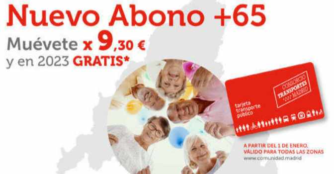 Precio del abono de transporte mensual de Madrid para mayores de 65 años será de 6,30 euros.