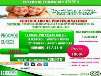 Asispa imparte el Certificado de Profesionalidad en cursos presenciales de 450 horas