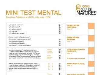 Test Alzheimer gratuito. Test Mini Mental para descubrir demencias seniles