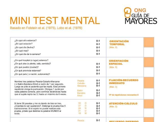 El rincón de la ONG. Test Alzheimer gratuito. Test Mini Mental para descubrir demencias seniles
