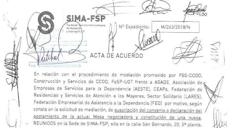 La firma del VII Convenio de la Dependencia se ha producido en un procedimiento de mediación en el SIMA