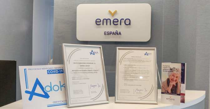 Las residencias de mayores del Grupo Emera son acreditadas contra el coronavirus por Adok.