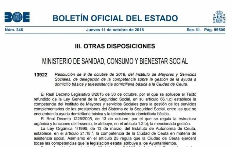 Ceuta y Melilla asumen ayuda a domicilio y teleasistencia