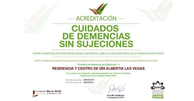 Albertia Las Vegas Ciempozuelos cumple 6 meses sin sujeciones físicas en el centro.