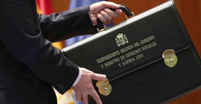 El sector ve motivos de esperanza en el nuevo Gobierno. En la imagen, cartera de Pablo Iglesias, vicepresidente del Gobierno y responsable de Derechos Sociales.