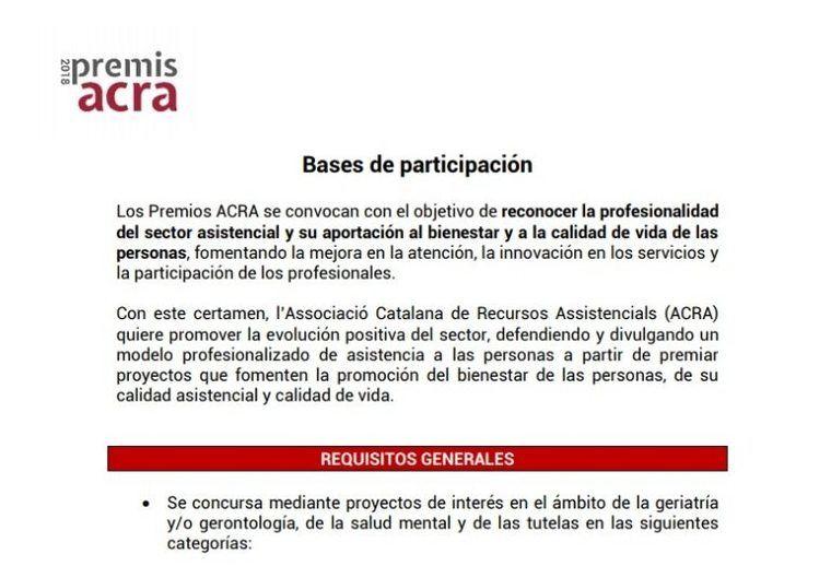 ACRA convoca sus Premios 2018 a la mejora e innovación en la atención a la dependencia