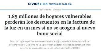 1,85 millones de hogares vulnerables perderán los descuentos en la factura de la luz en un mes si no se acogen al nuevo bono social