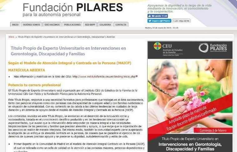 Título de la Fundación Pilares de Experto Universitario en Intervenciones en Gerontología, Discapacidad y Familias