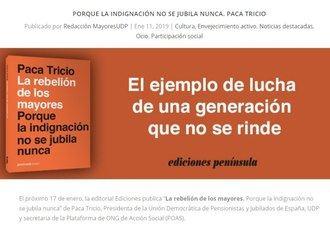 """Libro 'La rebelión de los mayores.Porque la indignación no se jubila nunca"""" de Paca Tricio"""