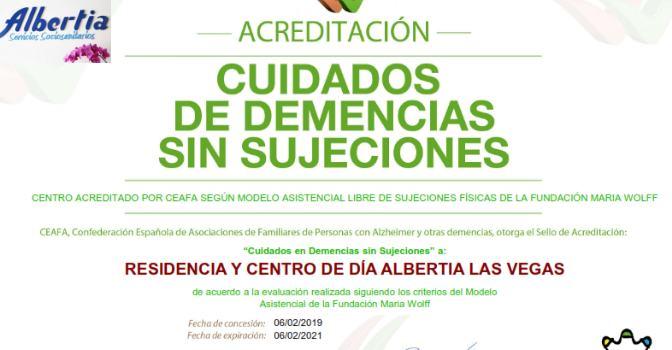 Albertia Las Vegas calificada Centro sin sujeciones físicas por CEAFA