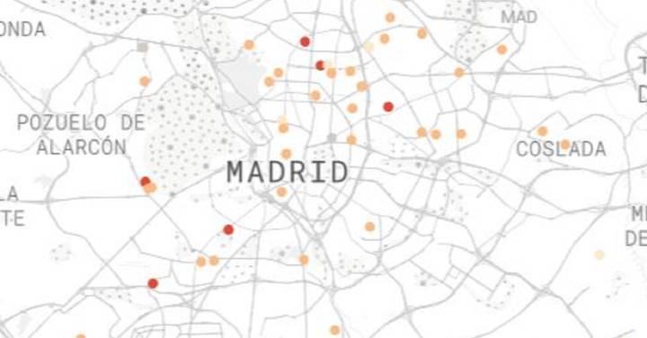 Visto en Internet. Mapa de las residencias de ancianos de Madrid sancionadas